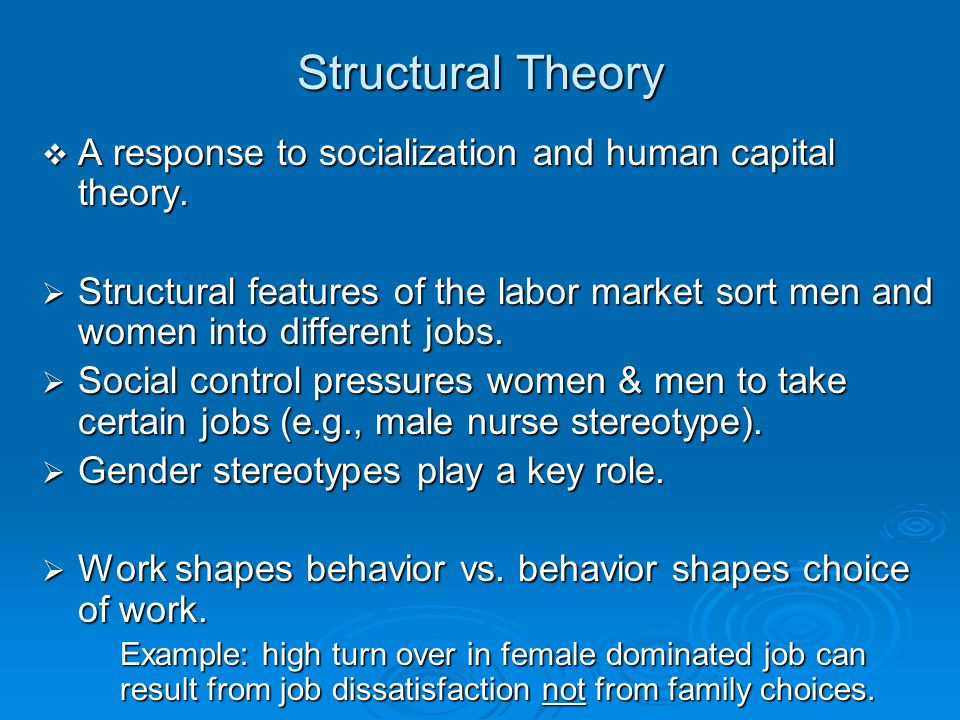 Structural Theory A response to socialization and human capital theory.