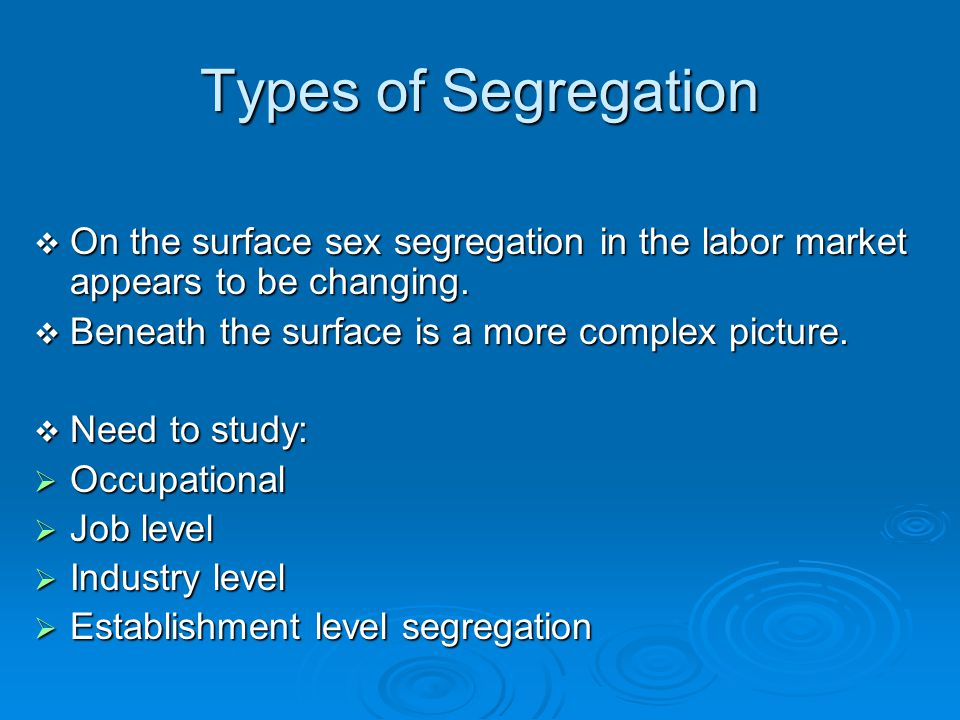 Types of Segregation On the surface sex segregation in the labor market appears to be changing. Beneath the surface is a more complex picture.