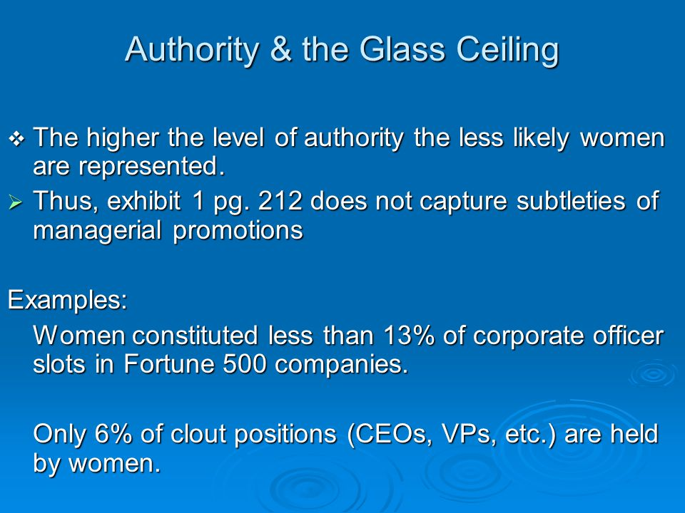 Authority & the Glass Ceiling