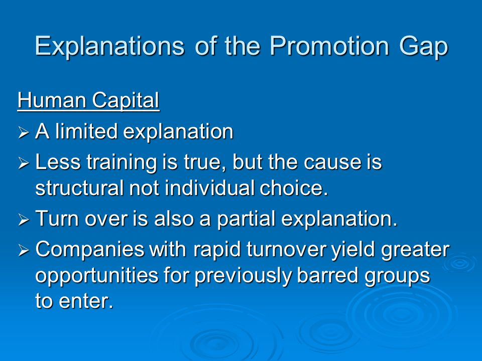 Explanations of the Promotion Gap