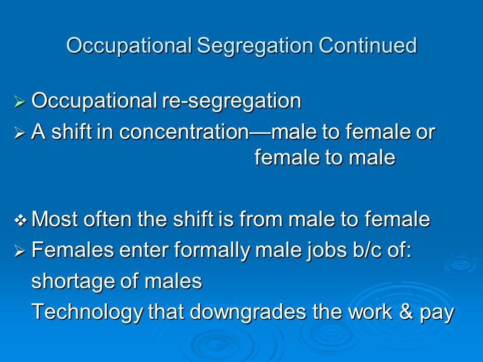 Occupational Segregation Continued