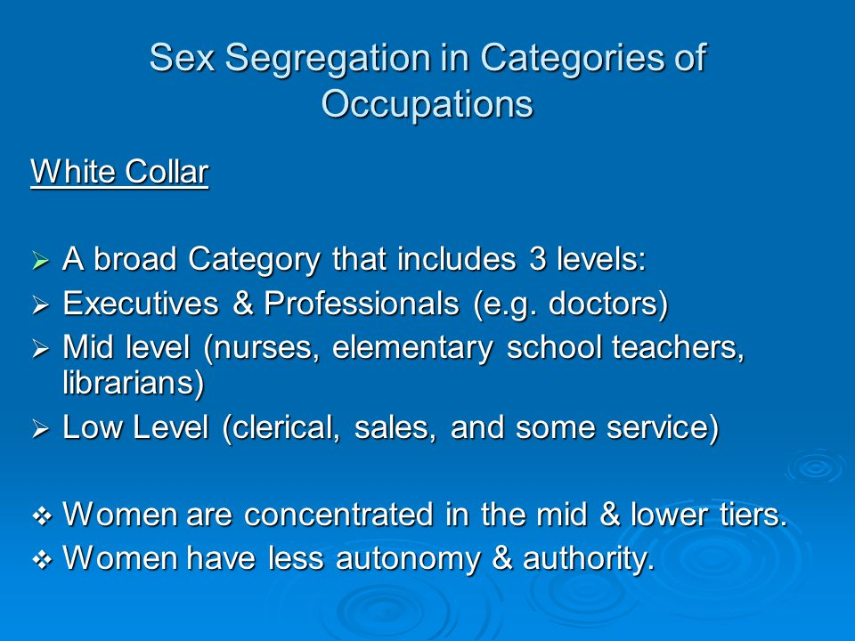 Sex Segregation in Categories of Occupations