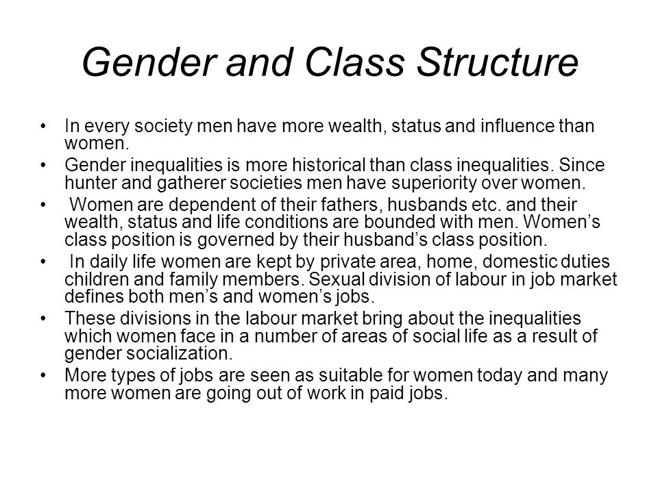 Gender and Class Structure