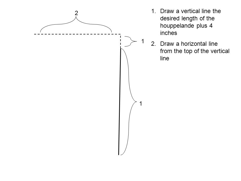 Draw a vertical line the desired length of the houppelande plus 4 inches