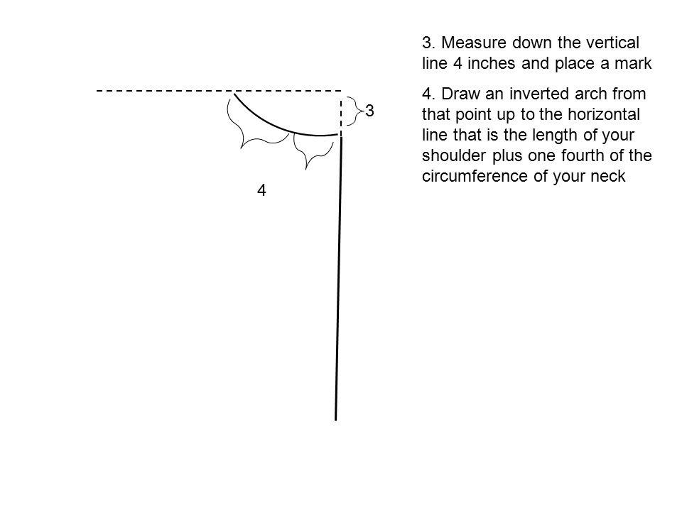 3. Measure down the vertical line 4 inches and place a mark