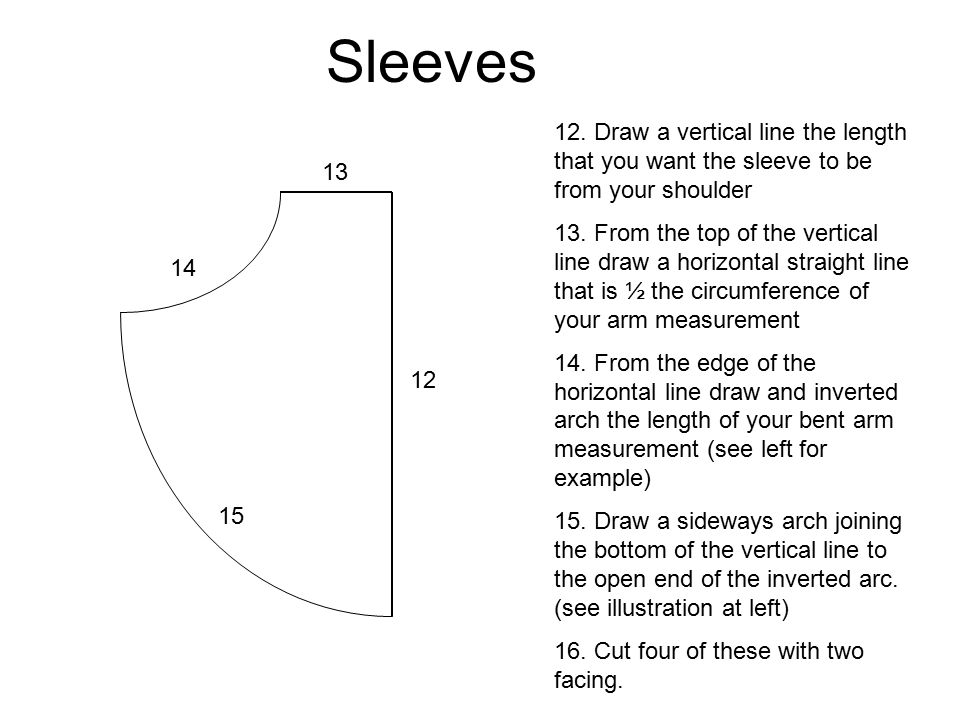 Sleeves 12. Draw a vertical line the length that you want the sleeve to be from your shoulder.