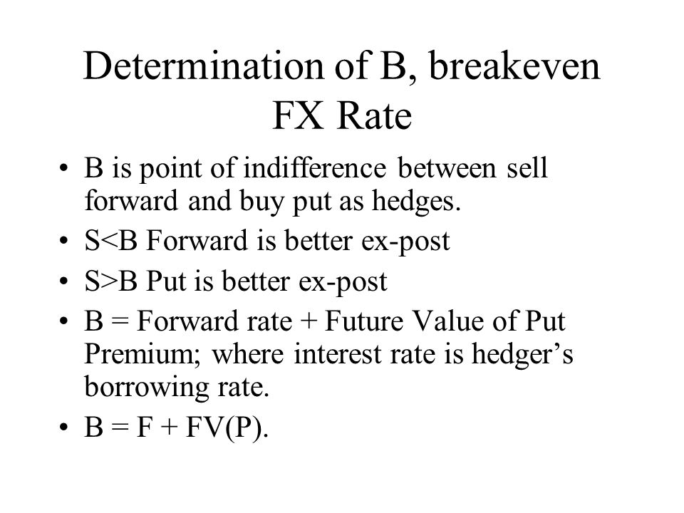 Determination of B, breakeven FX Rate