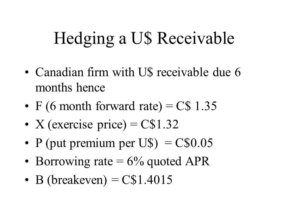 Hedging a U$ Receivable