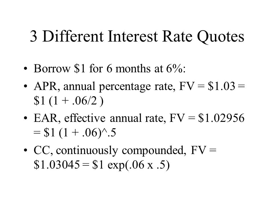 3 Different Interest Rate Quotes