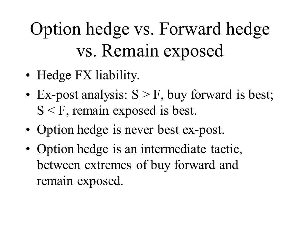 Option hedge vs. Forward hedge vs. Remain exposed