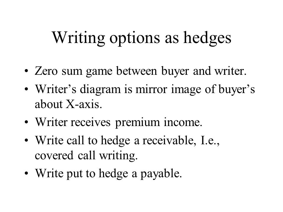 Writing options as hedges