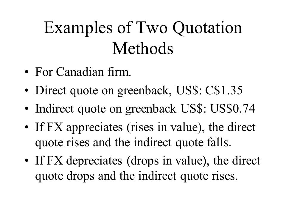 Examples of Two Quotation Methods