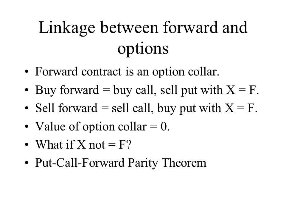 Linkage between forward and options