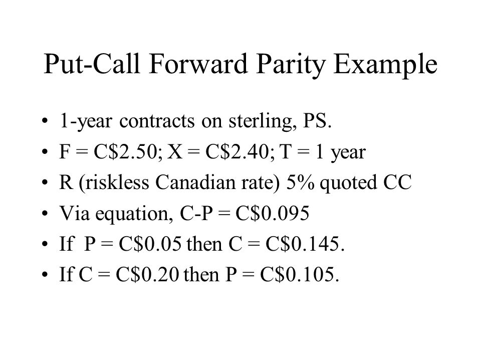 Put-Call Forward Parity Example