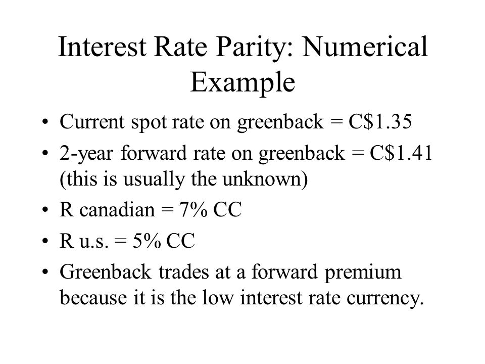 Interest Rate Parity: Numerical Example