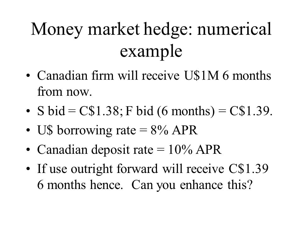 Money market hedge: numerical example