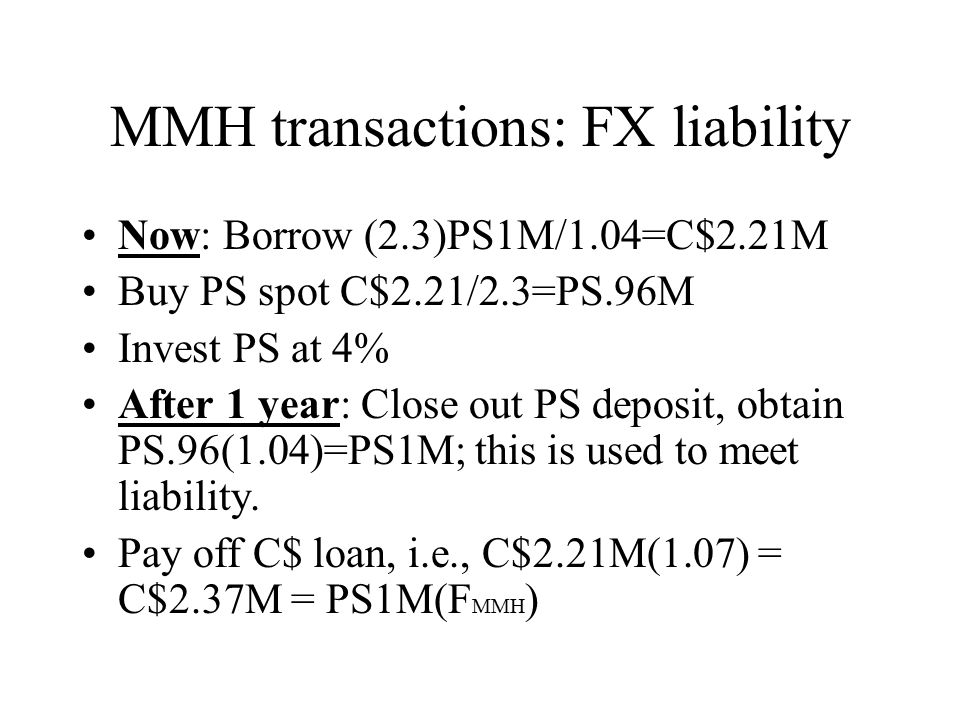 MMH transactions: FX liability