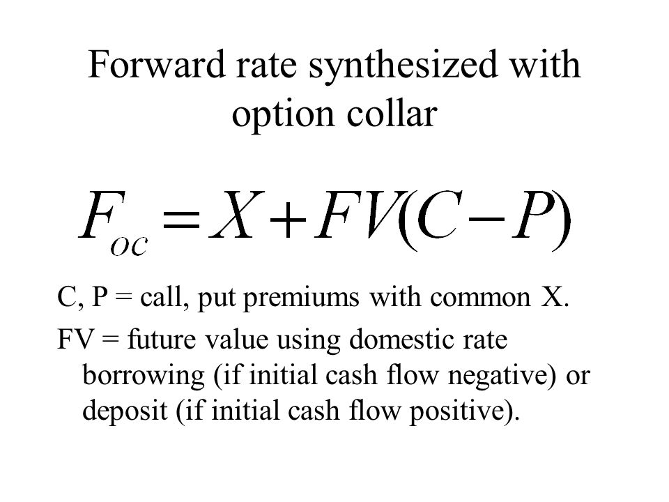 Forward rate synthesized with option collar