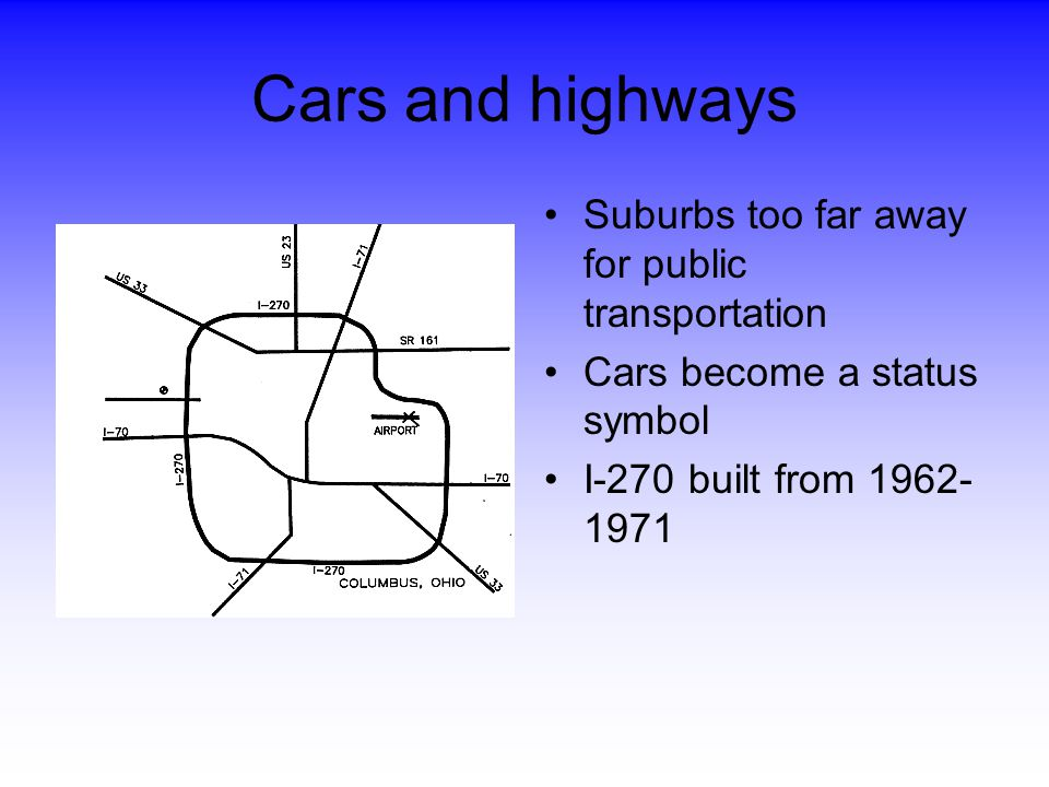 Cars and highways Suburbs too far away for public transportation