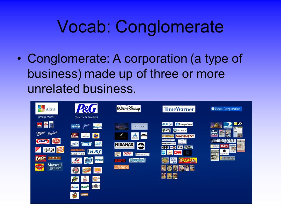 Vocab: Conglomerate Conglomerate: A corporation (a type of business) made up of three or more unrelated business.
