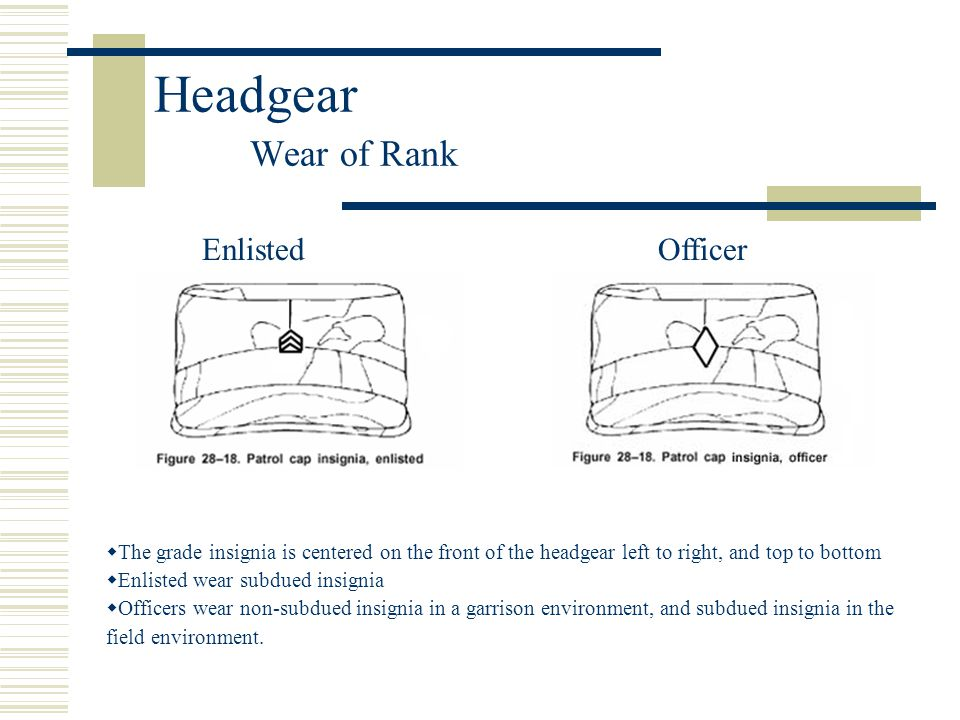 Headgear Wear of Rank Enlisted Officer