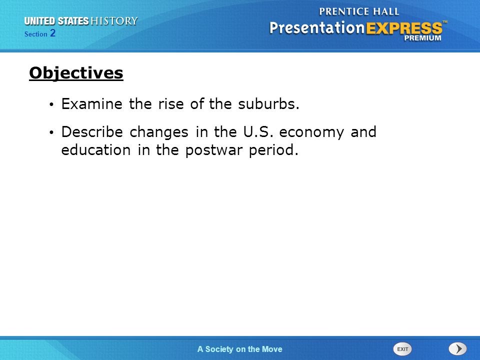 Objectives Examine the rise of the suburbs.