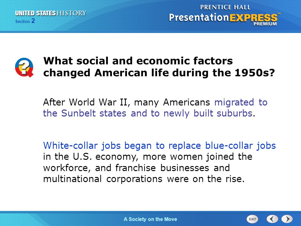 What social and economic factors changed American life during the 1950s
