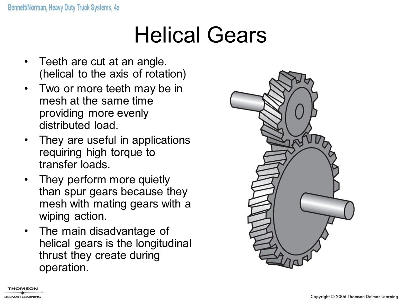 Helical Gears Teeth are cut at an angle. (helical to the axis of rotation)