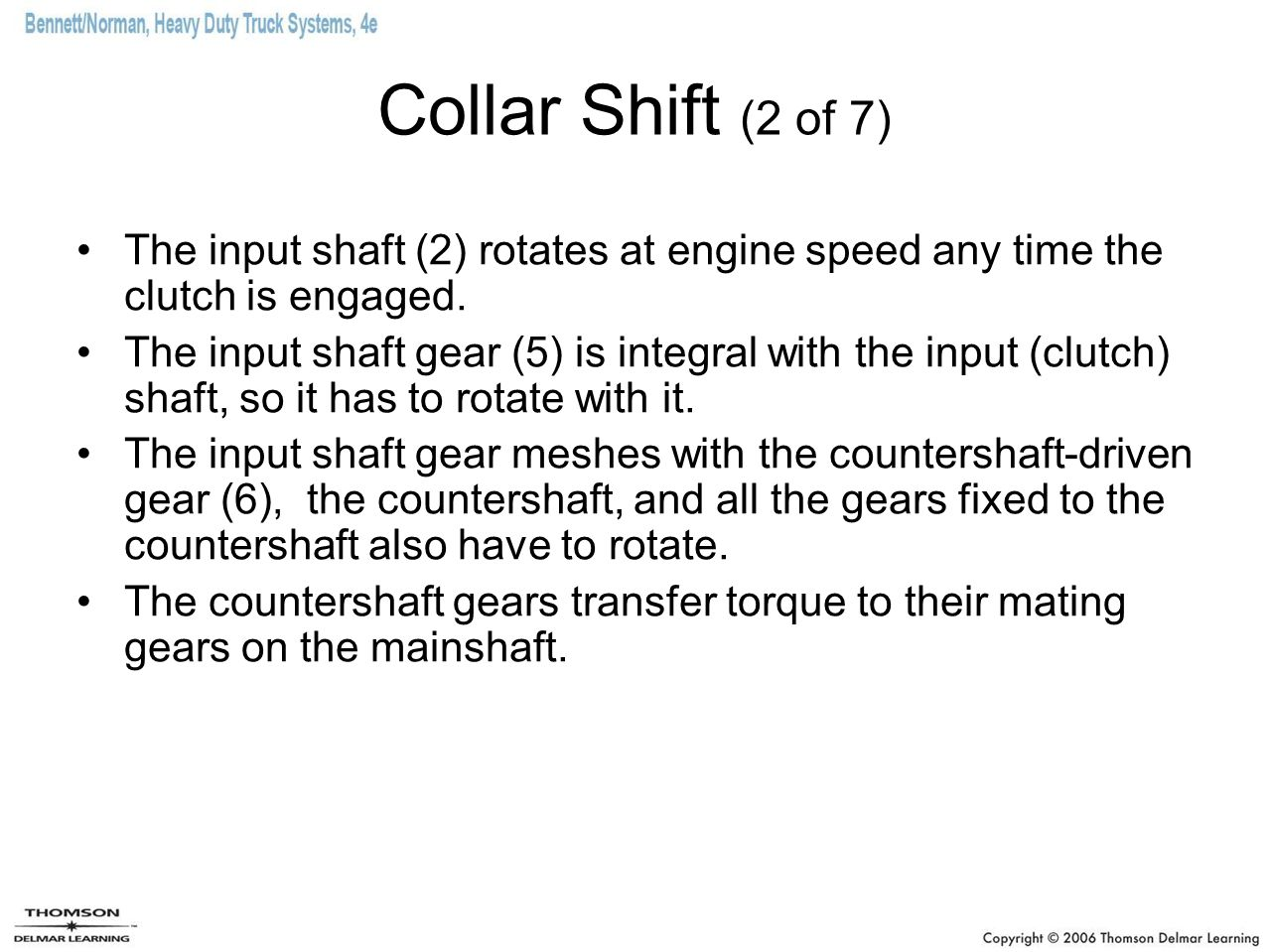 Collar Shift (2 of 7) The input shaft (2) rotates at engine speed any time the clutch is engaged.