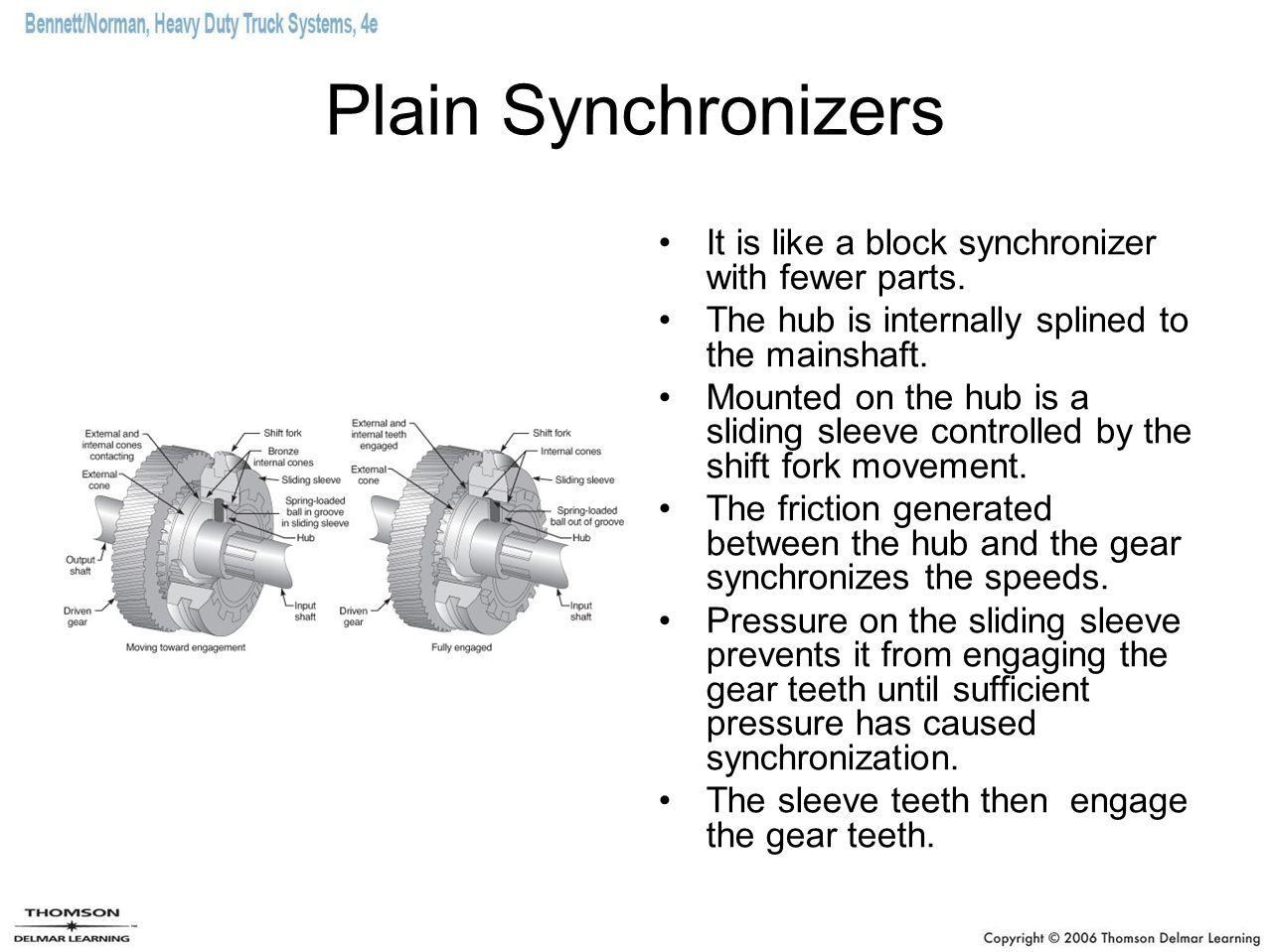 Plain Synchronizers It is like a block synchronizer with fewer parts.