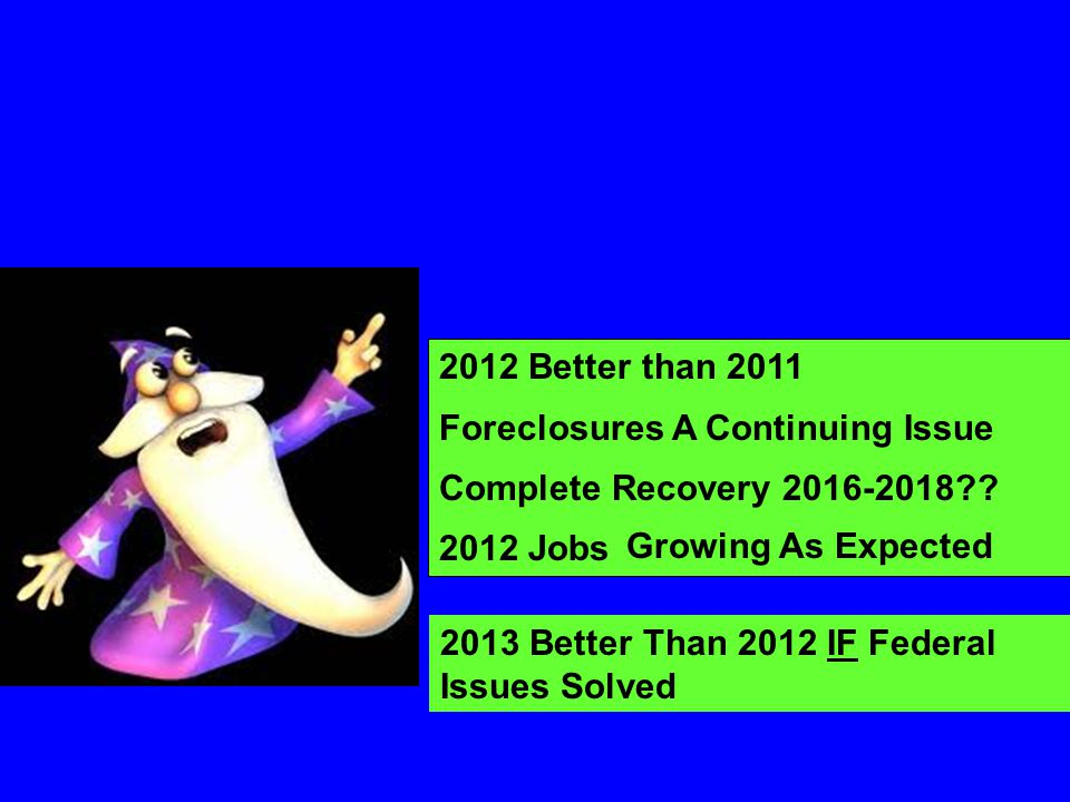 2012 Better than 2011 Foreclosures A Continuing Issue. Complete Recovery 2016-2018 2012 Jobs. Growing As Expected.