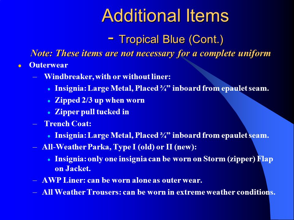 Additional Items - Tropical Blue (Cont.)