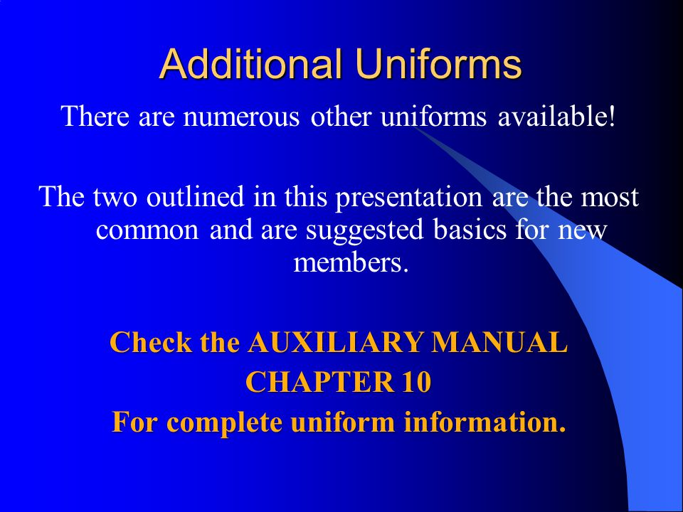 Additional Uniforms
