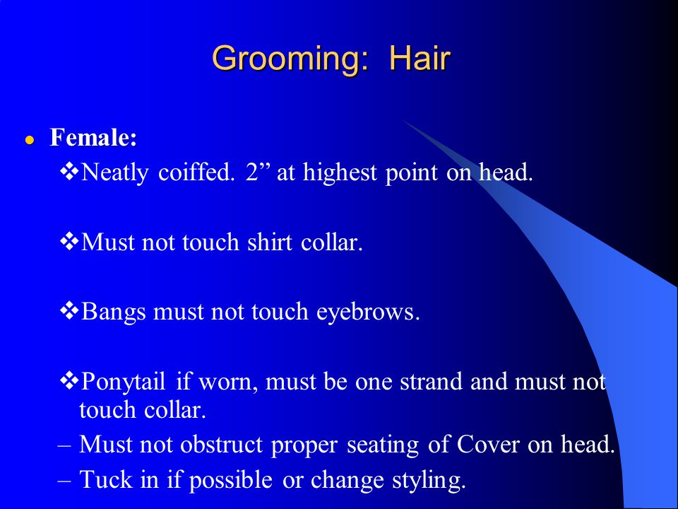 Grooming: Hair Female: Neatly coiffed. 2 at highest point on head.