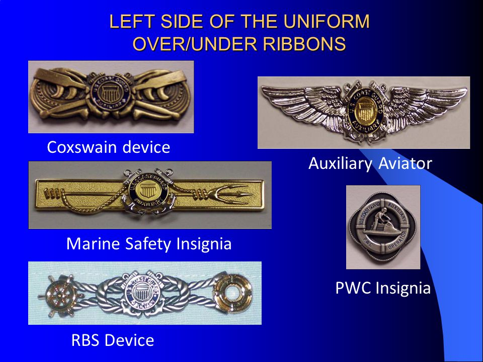 LEFT SIDE OF THE UNIFORM OVER/UNDER RIBBONS