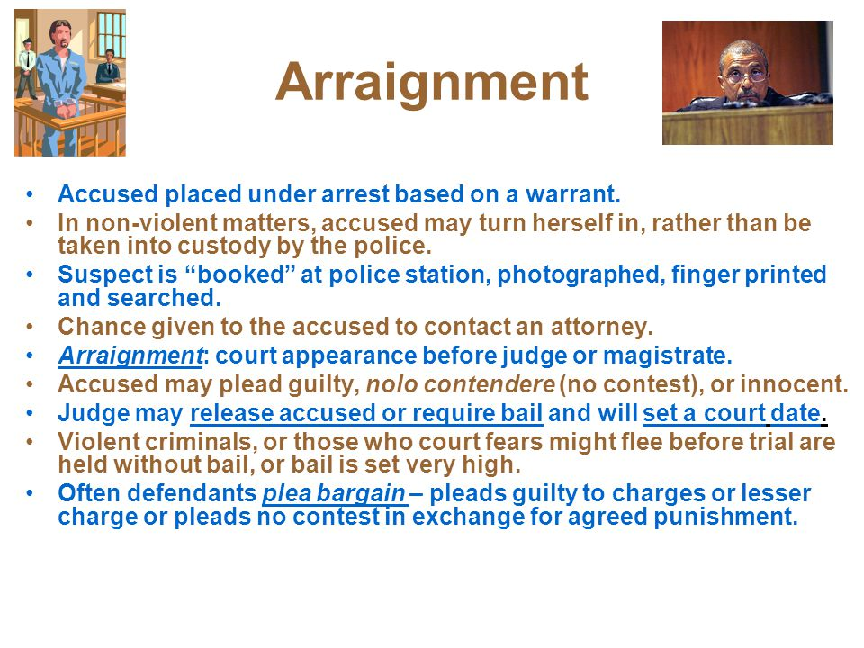 Arraignment Accused placed under arrest based on a warrant.
