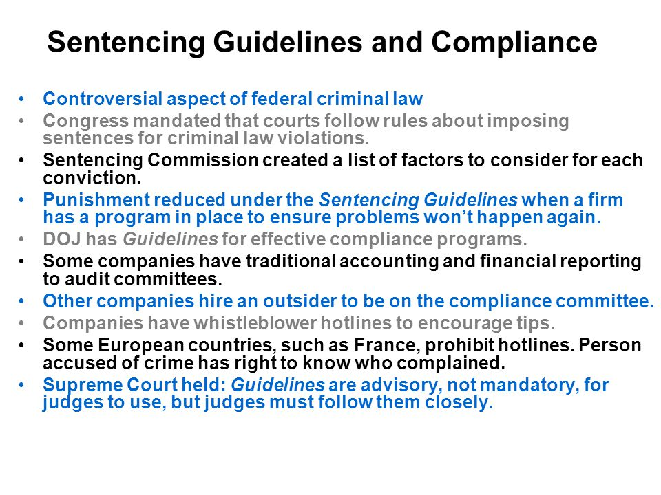 Sentencing Guidelines and Compliance