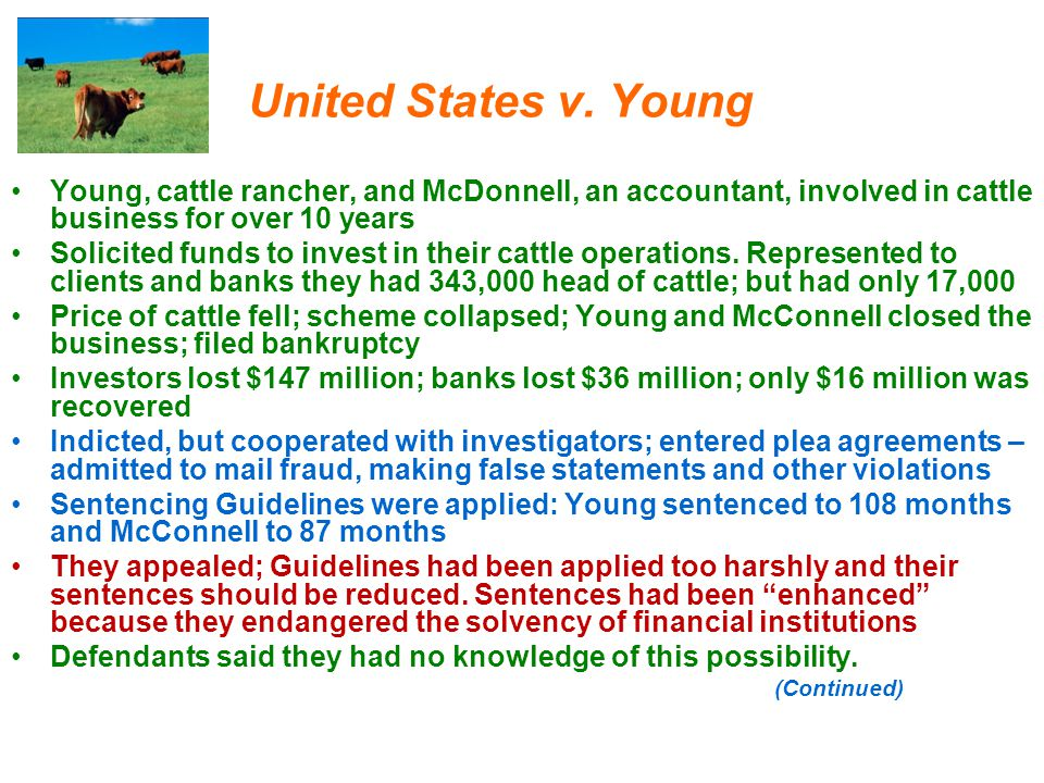United States v. Young Young, cattle rancher, and McDonnell, an accountant, involved in cattle business for over 10 years.