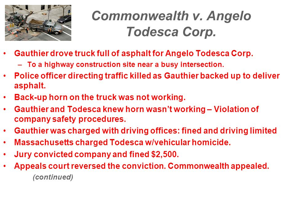 Commonwealth v. Angelo Todesca Corp.