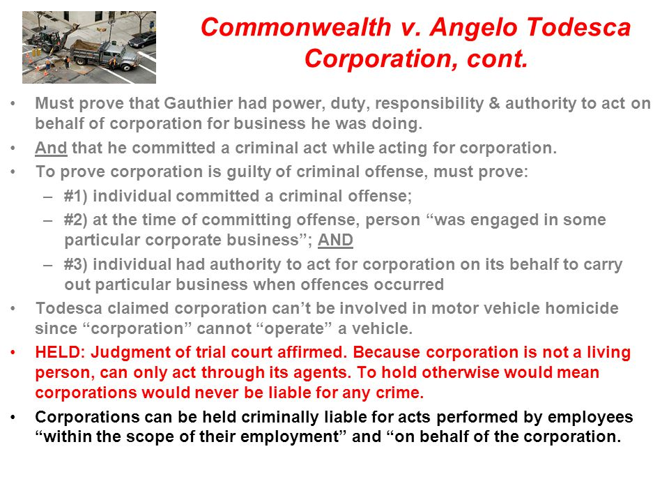 Commonwealth v. Angelo Todesca Corporation, cont.