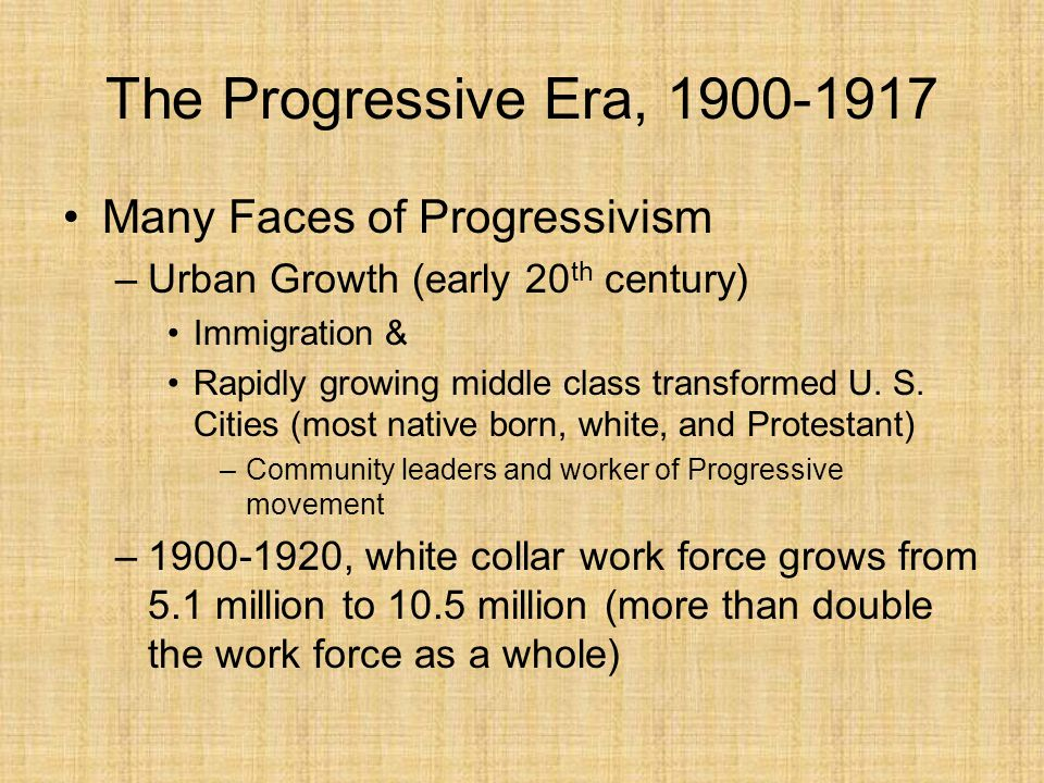 the progressive era through the great Start studying progressive era through the new deal 1900-1939 learn vocabulary, terms, and more with flashcards, games, and other study tools.