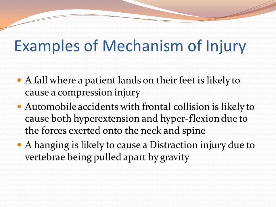 Examples of Mechanism of Injury