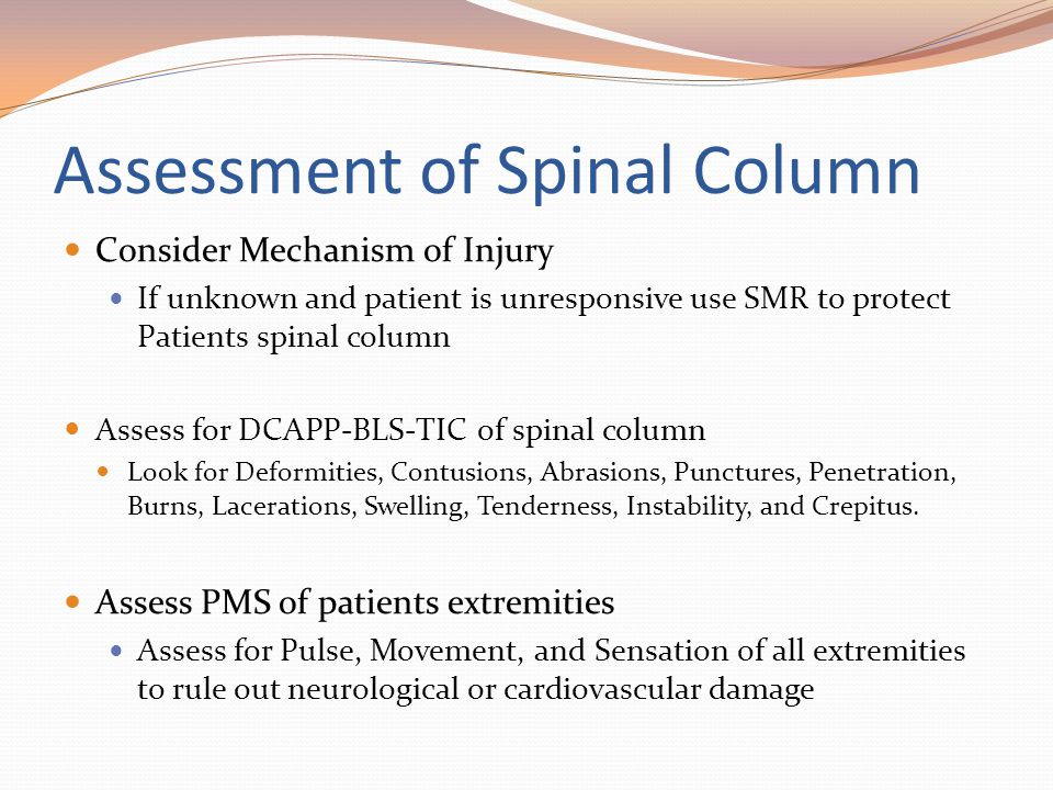 Assessment of Spinal Column