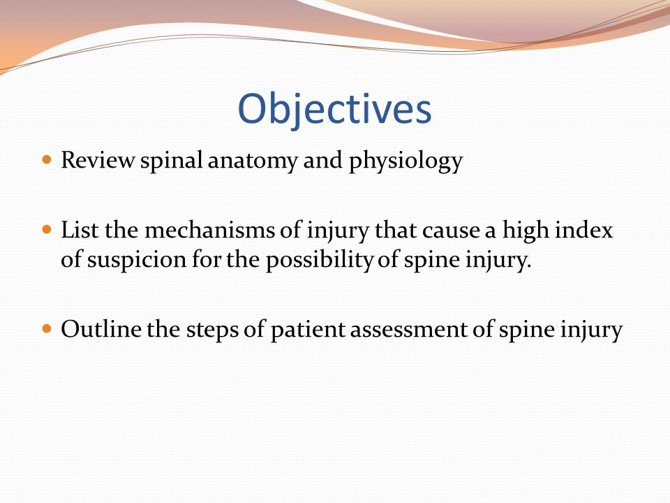 Objectives Review spinal anatomy and physiology