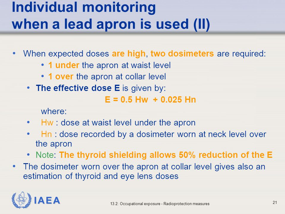 Individual monitoring when a lead apron is used (II)
