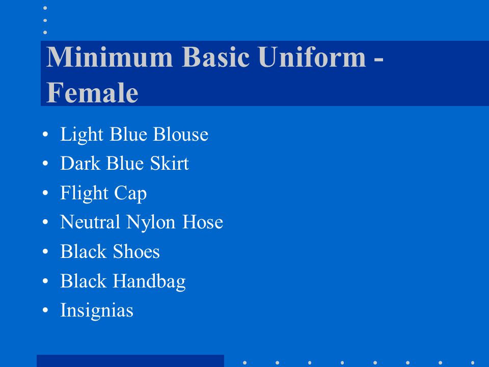 Minimum Basic Uniform - Female