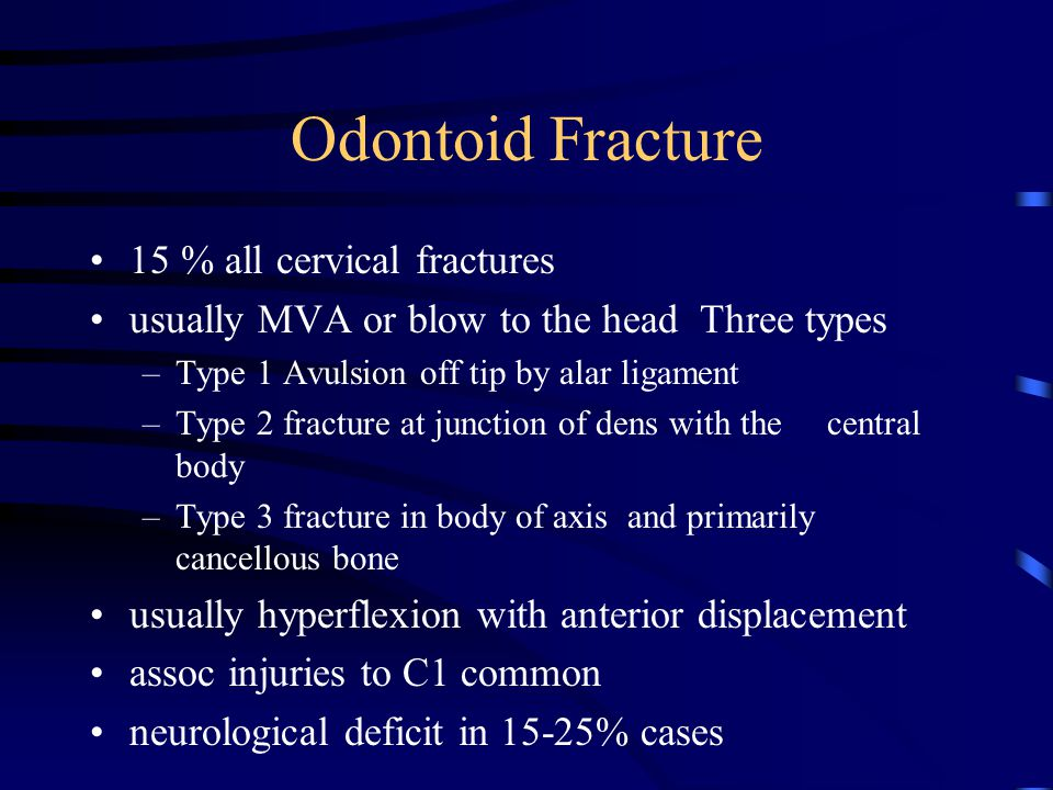 Odontoid Fracture 15 % all cervical fractures