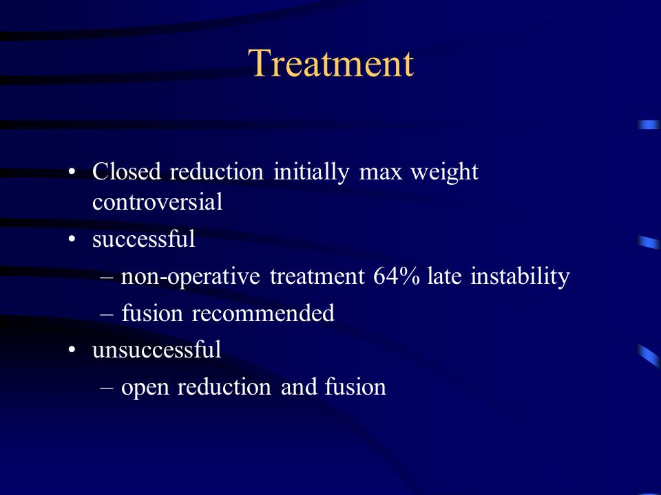 Treatment Closed reduction initially max weight controversial