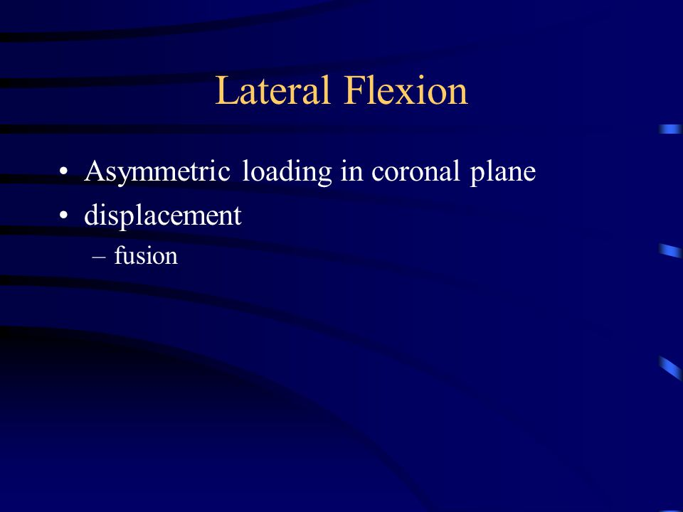 Lateral Flexion Asymmetric loading in coronal plane displacement