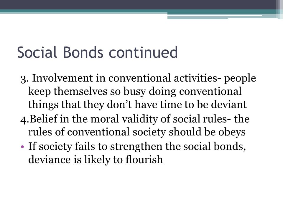 Social Bonds continued